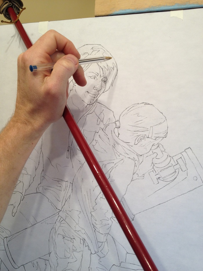Drawing Lines In Jcanvas : Transferring a large drawing to canvas bryan larsen fine art