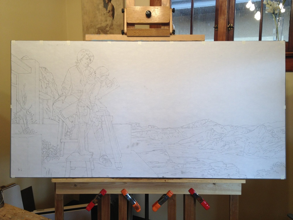 Drawing Lines Using Canvas : Transferring a large drawing to canvas bryan larsen fine art