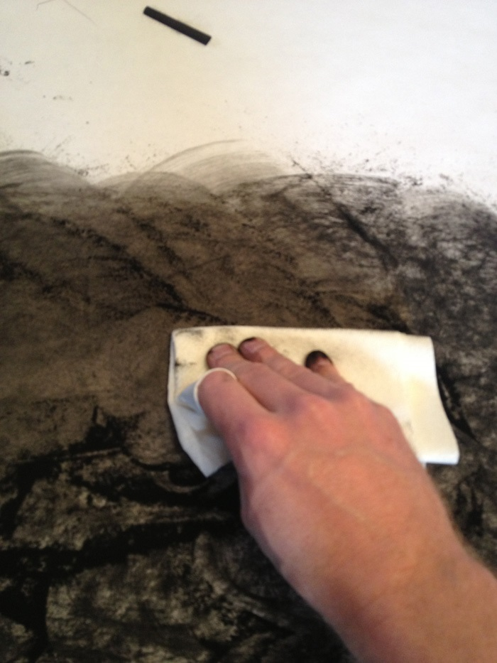 Laying down the charcoal transfer process2