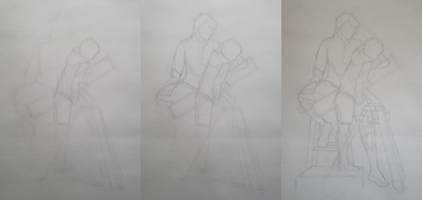 Rough sketching Figures - Starting a Painting